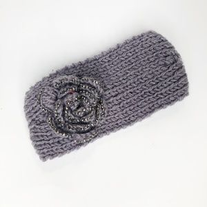 Crochet Gray Flower Winter Headband